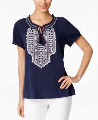 JM Collection Embroidered Short-Sleeve Peasant Top, Only at Vogily