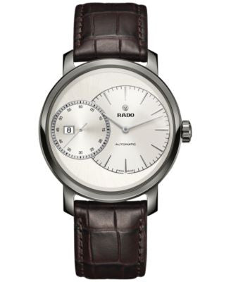 Rado Men's Swiss Automatic Chronograph DiaMaster Grande Seconde Brown Leather Strap Watch 43mm R1412