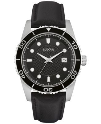 Bulova Men's Black Leather Strap Watch 43mm 98B275