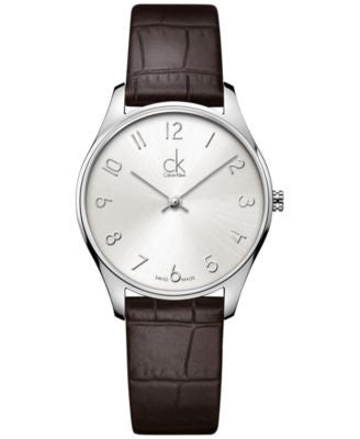 Calvin Klein Classic Men's Swiss Brown Leather Strap Watch 32mm K4D221G6