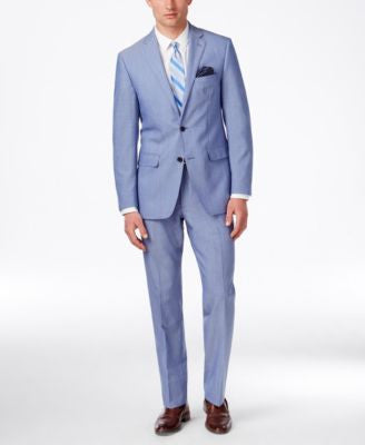 Tallia Men's Light Blue Solid Slim-Fit Suit