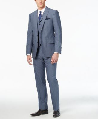 Tallia Men's Slim-Fit Light Blue Pinstripe Vested Suit