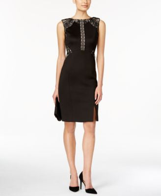Ivanka Trump Embroidered Lace Sheath Dress
