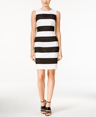 Calvin Klein Petite Perforated Striped Sheath Dress