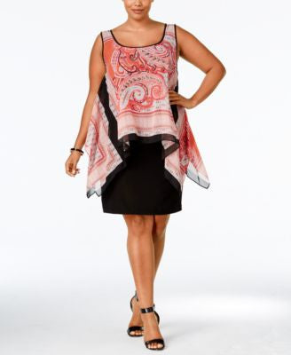 SL Fashions Plus Size Printed High-Low Popover Dress