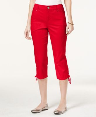 Style & Co. Tummy-Control Lace-Up Capri Pants, Only at Vogily