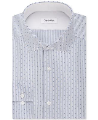 Calvin Klein STEEL Men's Non-Iron Slim-Fit Performance Dark Navy Print Dress Shirt
