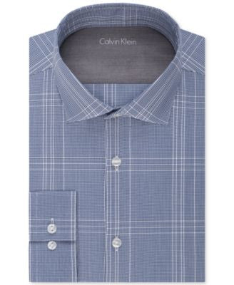 Calvin Klein Men's X Extra-Slim Fit Blue Graphite Plaid Dress Shirt
