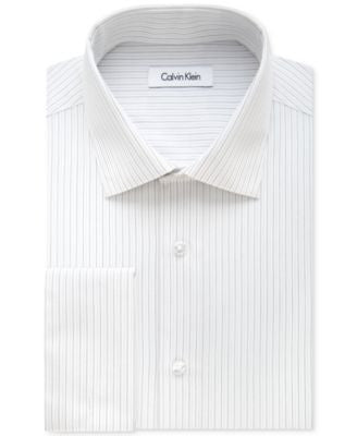 Calvin Klein STEEL Men's Classic-Fit Non-Iron Performance Charcoal Striped Dress Shirt