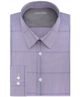 Calvin Klein Men's X Extra-Slim Fit Magenta Check Dress Shirt