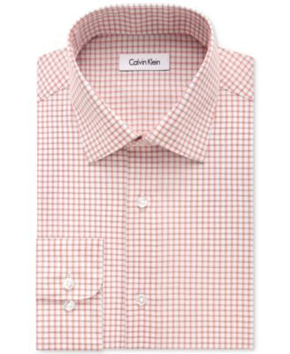 Calvin Klein STEEL Men's Big & Tall Classic-Fit Non-Iron Performance Sienna Check Dress Shirt