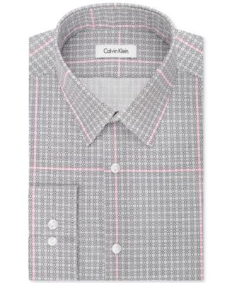 Calvin Klein Men's Fitted Infinite Stretch Grid-Pattern Dress Shirt