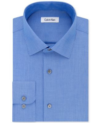 Calvin Klein STEEL Men's Classic-Fit Non-Iron Textured-Stripe Dress Shirt