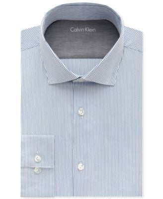 Calvin Klein Men's X Extra-Slim Fit Empire Blue Striped Dress Shirt