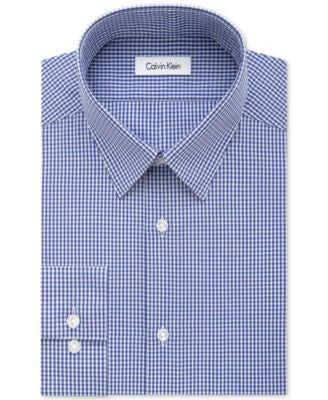 Calvin Klein STEEL Men's Slim-Fit Non-Iron Purple Dust Check Dress Shirt