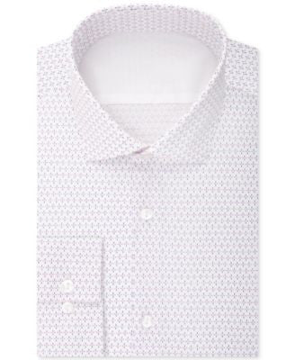 Calvin Klein Men's X Extra-Slim Fit Pink Print Dress Shirt