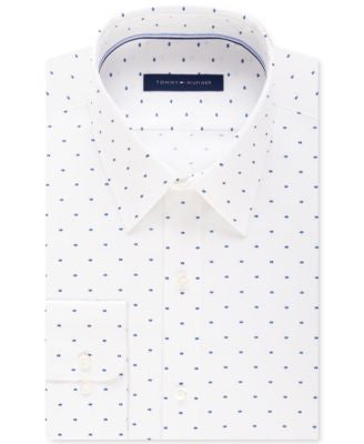 Tommy Hilfiger Nadal Collection Men's Fitted Flex Collar Royal Blue Print Performance Dress Shirt
