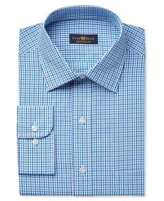 Club Room Estate Men's Classic-Fit Wrinkle Resistant Aqua Gingham Dress Shirt, Only at Vogily