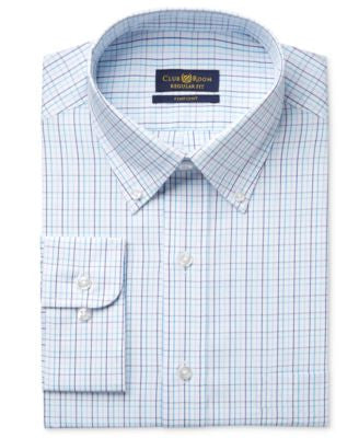 Club Room Estate Men's Classic-Fit Wrinkle Resistant Aqua Tattersall Dress Shirt Dress Shirt, Only a