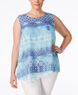 Style & Co. Plus Size Printed Sleeveless Handkerchief-Hem Blouse, Only at Vogily