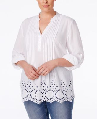 Style & Co. Plus Size Pintucked Eyelet Blouse, Only at Vogily