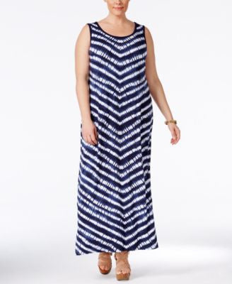 Style & Co. Plus Size Chevron-Striped Sleeveless Maxi Dress, Only at Vogily