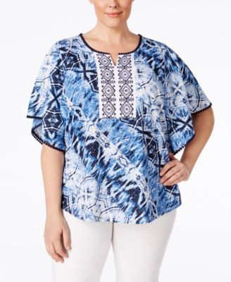 Style & Co. Plus Size Printed Embroidered Poncho-Sleeve Peasant Blouse, Only at Vogily