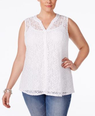 Style & Co. Plus Size Lace Sleeveless Blouse, Only at Vogily