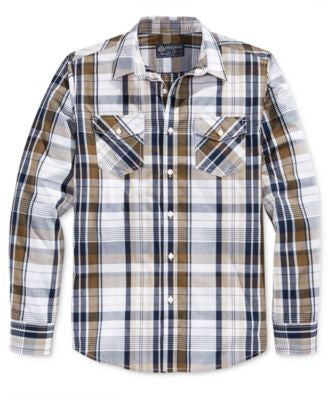 American Rag Men's Dual-Pocket Plaid Long-Sleeve Shirt, Only at Vogily