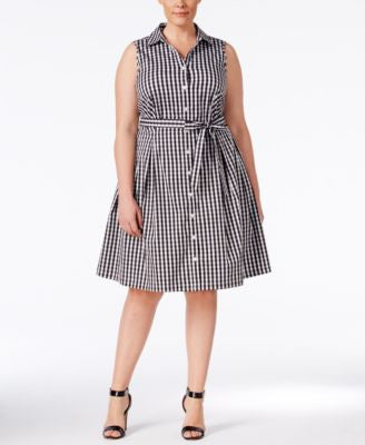 Charter Club Plus Size Gingham Fit & Flare Shirtdress, Only at Vogily