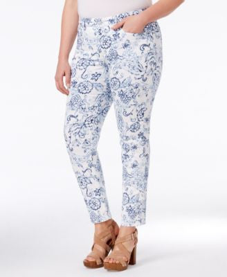 Charter Club Plus Size Printed Tummy-Control Ankle Pants, Only at Vogily