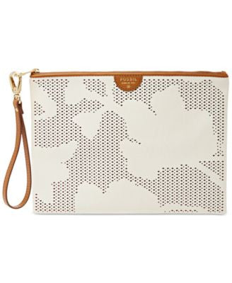 Fossil Leather Perforated Wristlet