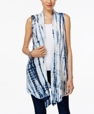 Style & Co. Tie-Dyed Open-Front Vest, Only at Vogily