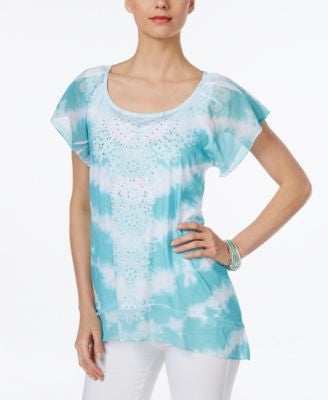 Style & Co. Tie-Dyed Flutter-Sleeve Top, Only at Vogily