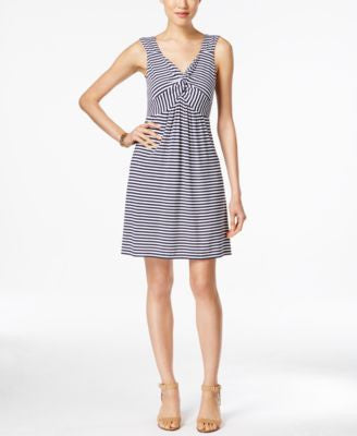 Style & Co. Striped Twist-Front Dress, Only at Vogily
