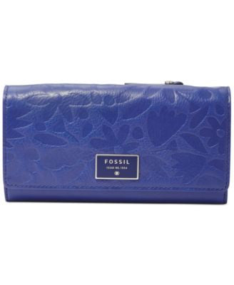 Fossil Embossed Leather Flap Wallet