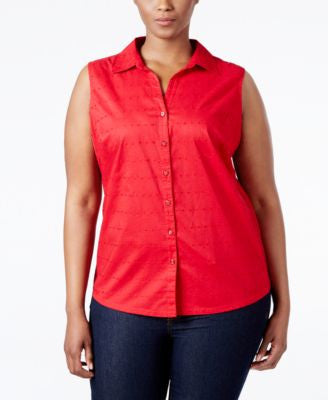 Karen Scott Plus Size Eyelet Shirt, Only at Vogily