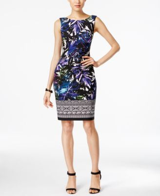 Connected Printed Boat-Neck Sheath Dress