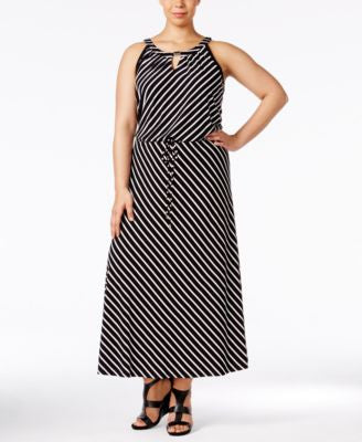 Calvin Klein Plus Size Striped Keyhole Maxi Dress