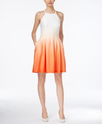 Calvin Klein Ombré Fit & Flare Halter Dress