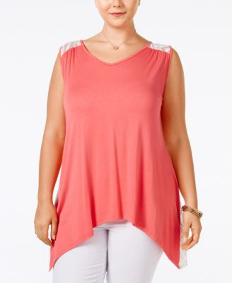 ING Trendy Plus Size Crochet-Back Handkerchief-Hem Top
