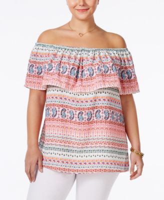 ING Trendy Plus Size Geo-Print Off-The-Shoulder Top
