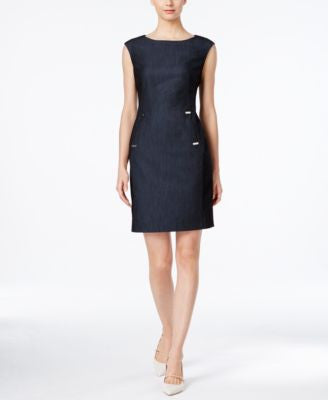 Calvin Klein Embellished Denim Sheath Dress