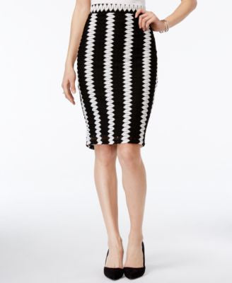 Bar III Zigzag Knit Pencil Skirt, Only at Vogily