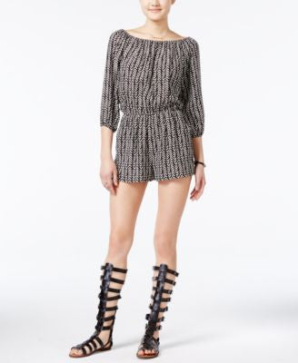 Bar III Printed Three-Quarter-Sleeve Romper, Only at Vogily