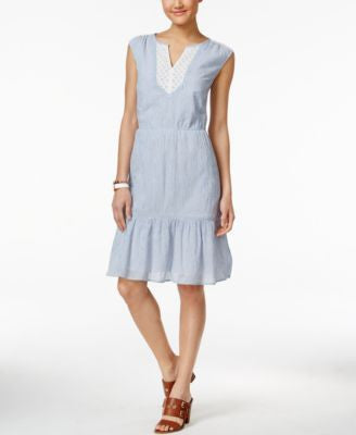 Tommy Hilfiger Striped Lace-Trim Dress