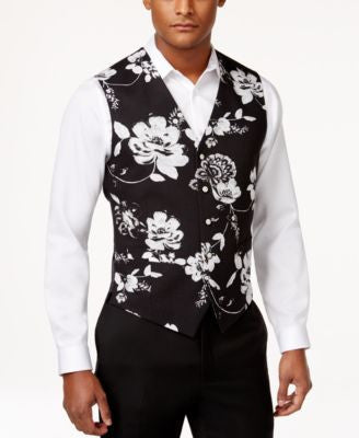 Tallia Men's Slim-Fit Floral-Print Vest