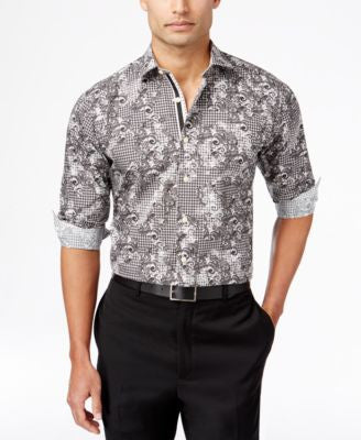 Tallia Men's Houndstooth Paisley Long-Sleeve Shirt