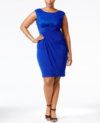 Connected Plus Size Lace Draped Dress