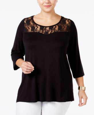 Junarose Plus Size Lace Illusion Top